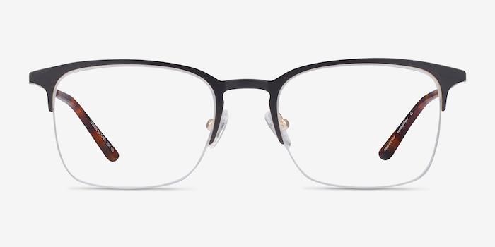 Owen Black Metal Eyeglass Frames from EyeBuyDirect, Front View