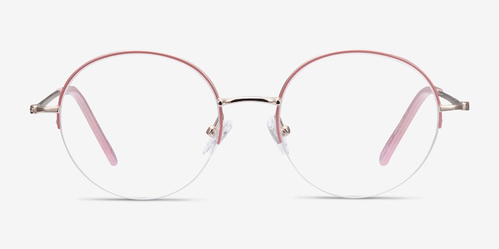 Takashi Pink & Gold Metal Eyeglass Frames from EyeBuyDirect, Front View
