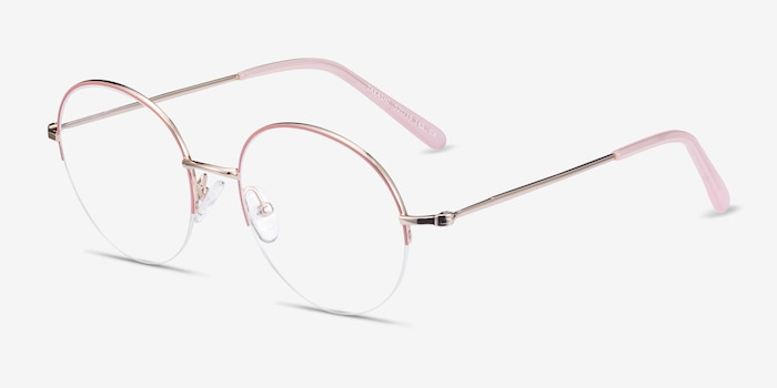 Takashi Pink & Gold Metal Eyeglass Frames from EyeBuyDirect, Angle View