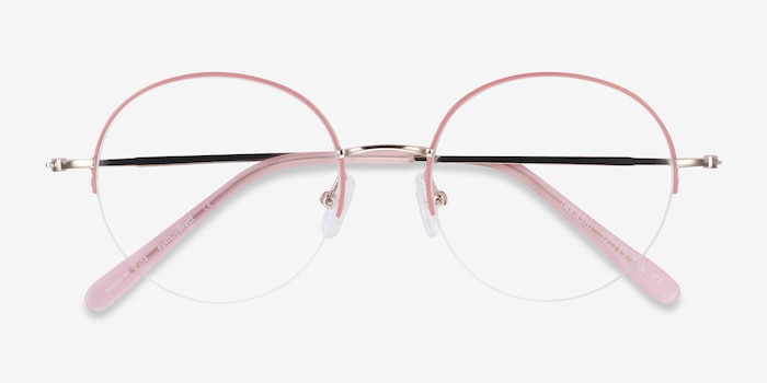 Takashi Pink & Gold Metal Eyeglass Frames from EyeBuyDirect, Closed View