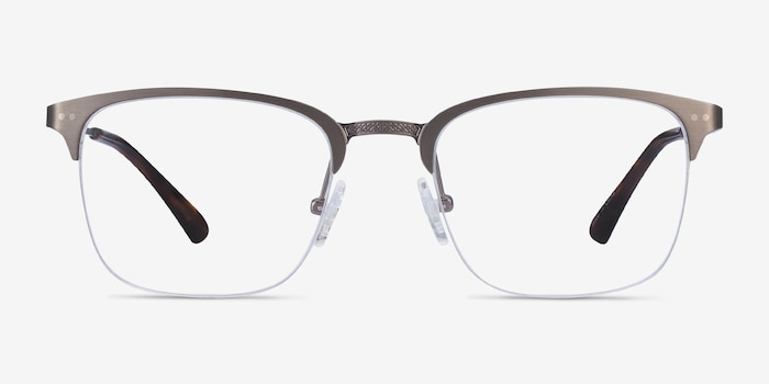Quinton Gunmetal Metal Eyeglass Frames from EyeBuyDirect, Front View