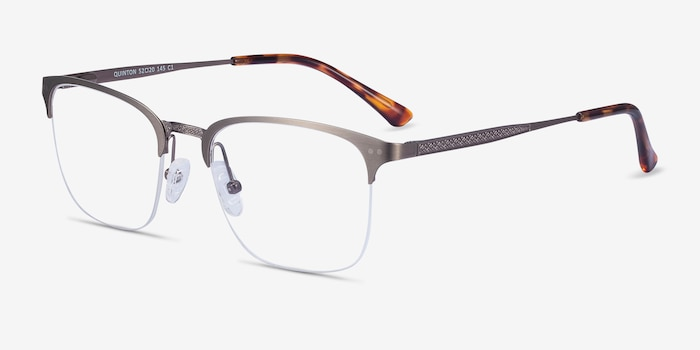 Quinton Gunmetal Metal Eyeglass Frames from EyeBuyDirect, Angle View