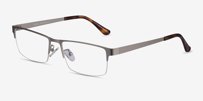 Travis Silver Metal Eyeglass Frames from EyeBuyDirect, Angle View
