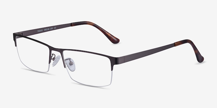 Travis Gunmetal Metal Eyeglass Frames from EyeBuyDirect, Angle View