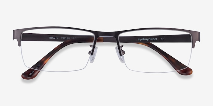 Travis Gunmetal Metal Eyeglass Frames from EyeBuyDirect, Closed View