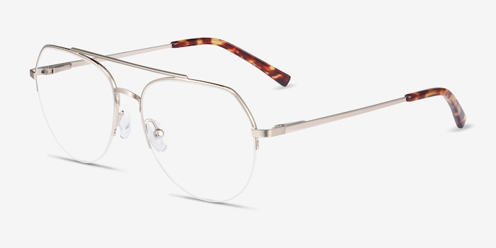 Breathe Gold Metal Eyeglass Frames from EyeBuyDirect, Angle View