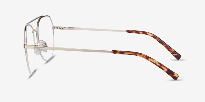 Breathe Gold Metal Eyeglass Frames from EyeBuyDirect, Side View