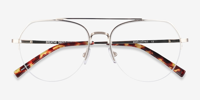 Breathe Gold Metal Eyeglass Frames from EyeBuyDirect, Closed View