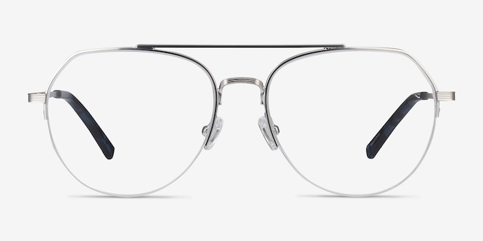 Breathe Silver Metal Eyeglass Frames from EyeBuyDirect, Front View