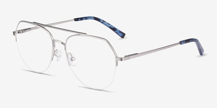 Breathe Silver Metal Eyeglass Frames from EyeBuyDirect, Angle View