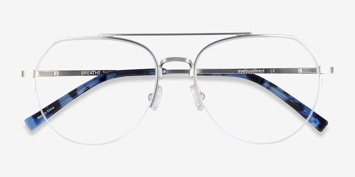 Breathe Silver Metal Eyeglass Frames from EyeBuyDirect, Closed View