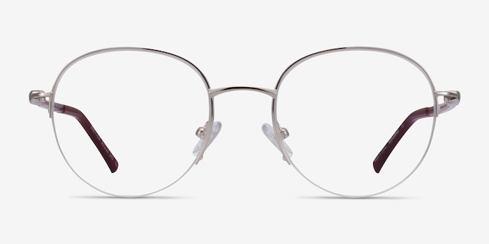 Written Silver Red Metal Eyeglass Frames from EyeBuyDirect, Front View