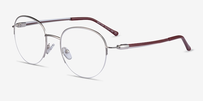 Written Silver Red Metal Eyeglass Frames from EyeBuyDirect, Angle View