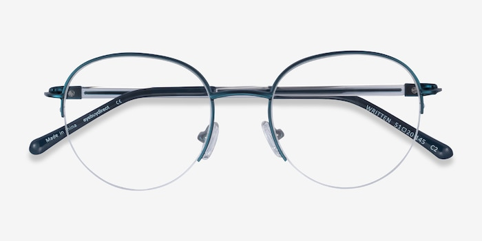 Written Navy Metal Eyeglass Frames from EyeBuyDirect, Closed View