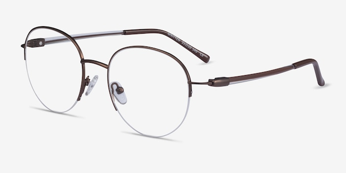 Written Bronze Metal Eyeglass Frames from EyeBuyDirect, Angle View