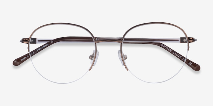 Written Bronze Metal Eyeglass Frames from EyeBuyDirect, Closed View