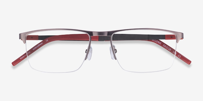 Belong Silver Carbon-fiber Eyeglass Frames from EyeBuyDirect, Closed View
