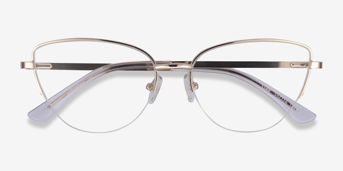 Star Gold Metal Eyeglass Frames from EyeBuyDirect, Closed View