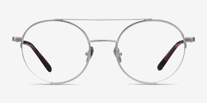 Miller Silver Metal Eyeglass Frames from EyeBuyDirect, Front View