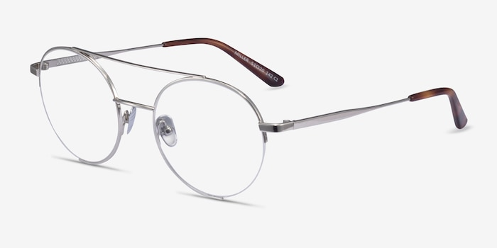 Miller Silver Metal Eyeglass Frames from EyeBuyDirect, Angle View