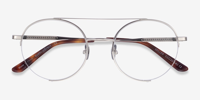 Miller Silver Metal Eyeglass Frames from EyeBuyDirect, Closed View
