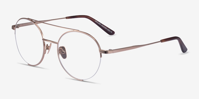 Miller Rose Gold Metal Eyeglass Frames from EyeBuyDirect, Angle View