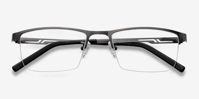 Algorithm Gunmetal Metal Eyeglass Frames from EyeBuyDirect, Closed View
