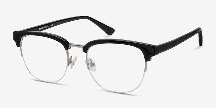 Genbu  Black  Metal Eyeglass Frames from EyeBuyDirect, Angle View