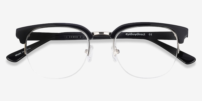 Genbu  Black  Metal Eyeglass Frames from EyeBuyDirect, Closed View