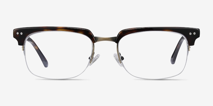 Kurma Tortoise Metal Eyeglass Frames from EyeBuyDirect, Front View