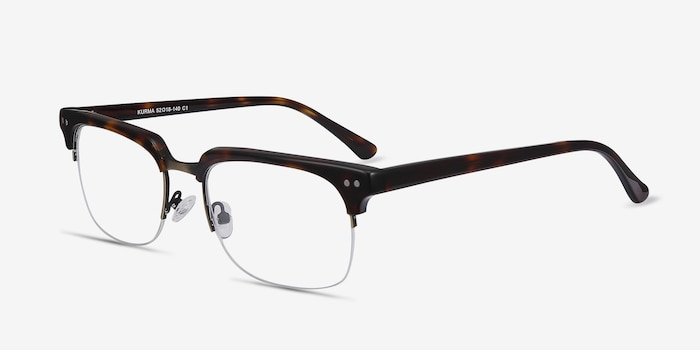 Kurma Tortoise Metal Eyeglass Frames from EyeBuyDirect, Angle View
