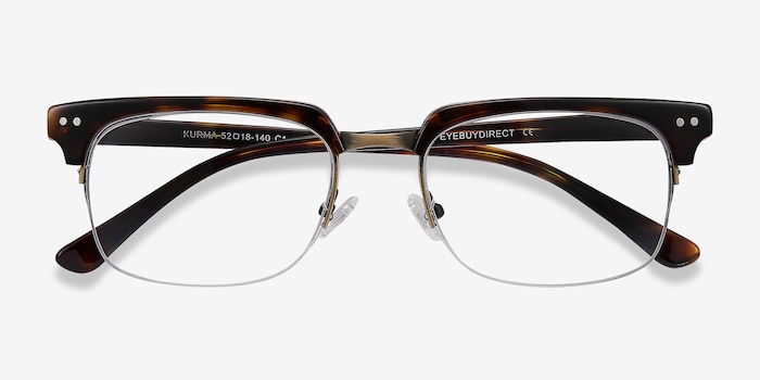 Kurma Tortoise Metal Eyeglass Frames from EyeBuyDirect, Closed View