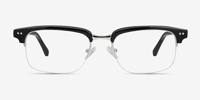 Kurma Black Acetate Eyeglass Frames from EyeBuyDirect, Front View