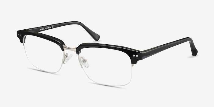 Kurma Black Acetate Eyeglass Frames from EyeBuyDirect, Angle View