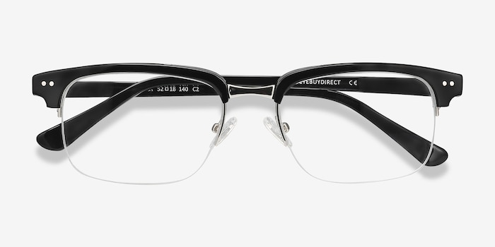 Kurma Black Metal Eyeglass Frames from EyeBuyDirect, Closed View