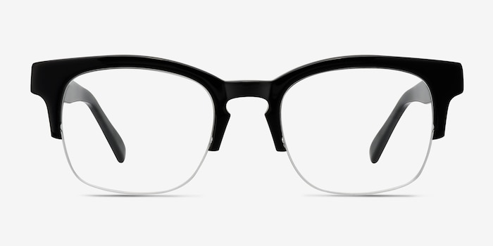 Luxe Black Acetate Eyeglass Frames from EyeBuyDirect, Front View