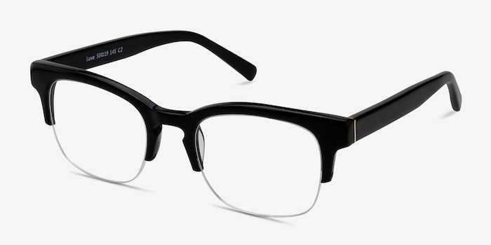 Luxe Black Acetate Eyeglass Frames from EyeBuyDirect, Angle View