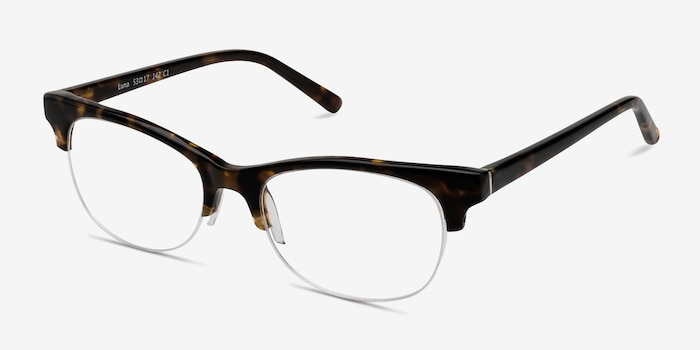 Luna Tortoise Acetate Eyeglass Frames from EyeBuyDirect, Angle View