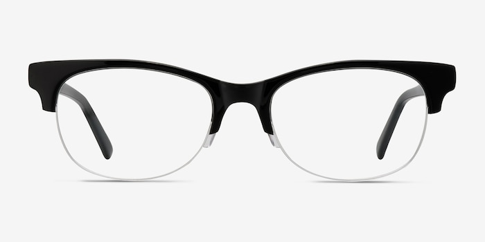 Luna Black Acetate Eyeglass Frames from EyeBuyDirect, Front View