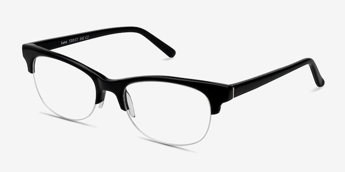 Luna Black Acetate Eyeglass Frames from EyeBuyDirect, Angle View