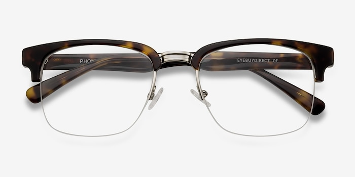 Phonic Tortoise Metal Eyeglass Frames from EyeBuyDirect, Closed View