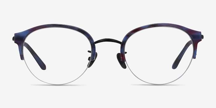 Dulcet Blue Metal Eyeglass Frames from EyeBuyDirect, Front View