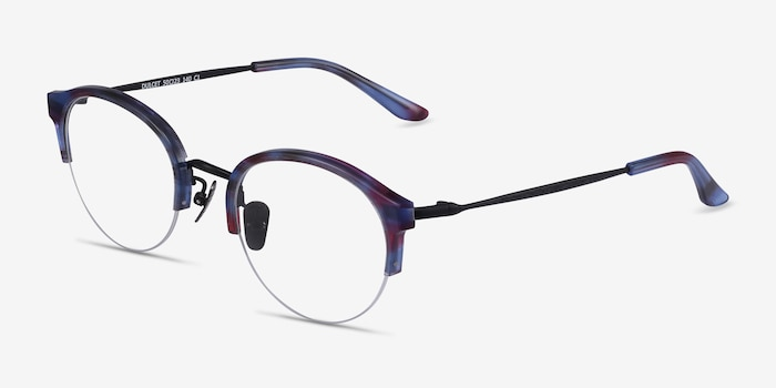 Dulcet Blue Metal Eyeglass Frames from EyeBuyDirect, Angle View