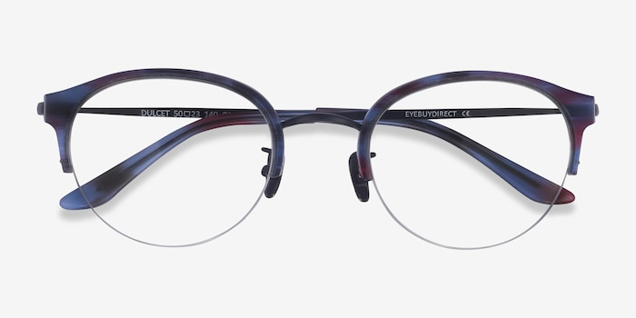 Dulcet Blue Metal Eyeglass Frames from EyeBuyDirect, Closed View