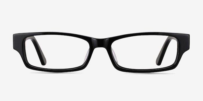 Dieppe Black Acetate Eyeglass Frames from EyeBuyDirect, Front View