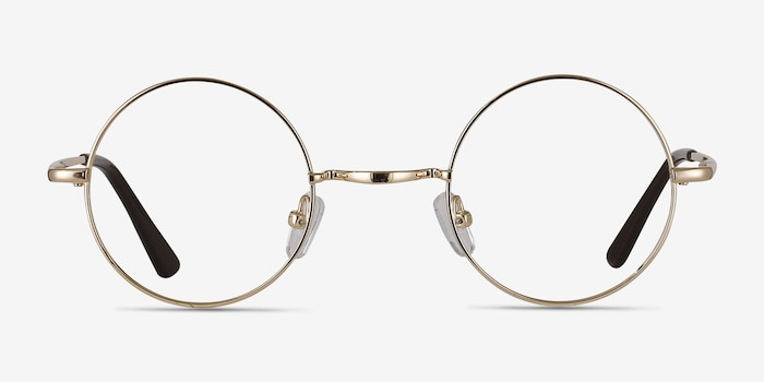 Abazam Golden Metal Eyeglass Frames from EyeBuyDirect, Front View