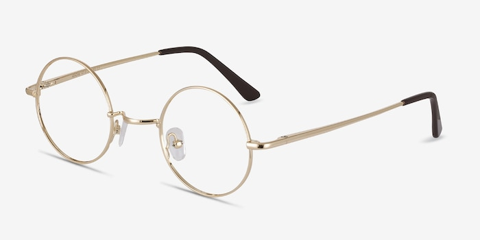 Abazam Golden Metal Eyeglass Frames from EyeBuyDirect, Angle View