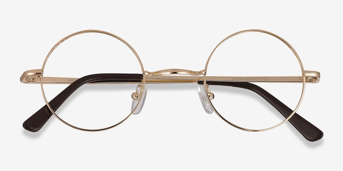 Abazam Golden Metal Eyeglass Frames from EyeBuyDirect, Closed View