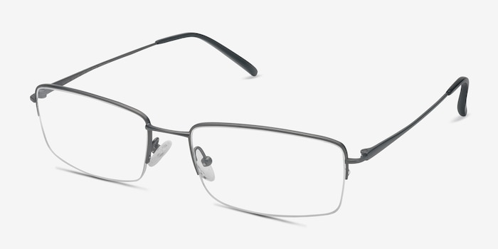 Kanick Gunmetal Titanium Eyeglass Frames from EyeBuyDirect, Angle View