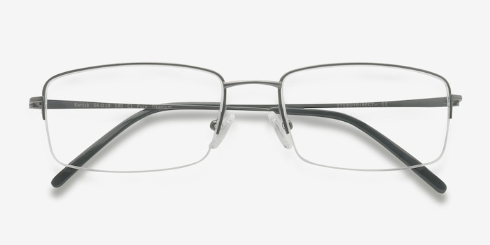 Kanick Gunmetal Titanium Eyeglass Frames from EyeBuyDirect, Closed View
